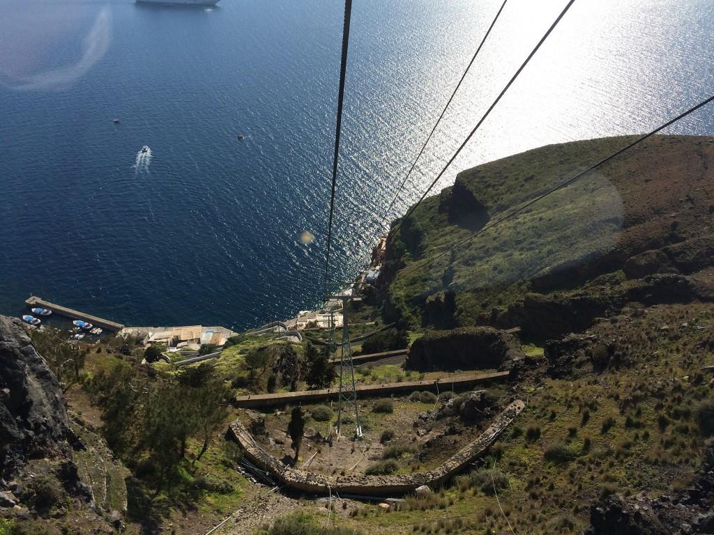 Фото канатной дороги на острове Санторини