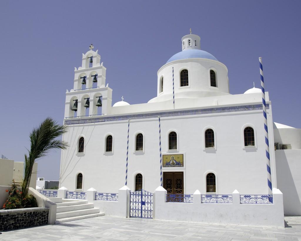 Фото церкви Айиу-Мина на острове Санторини
