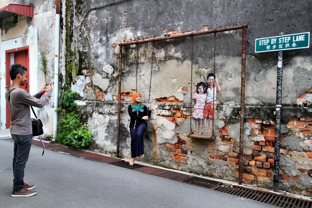 Фото настенной живописи на Пенанге.